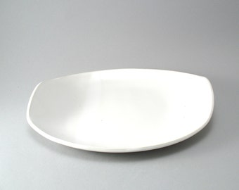 Ceramic Serving Platter-Pottery Plate-Tableware-Serving Dish-White-Slab Built-Classic White Glaze