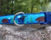 Moose and Bear Unique Dog Collar In Medium - Large and XL, Custom Collar Webbing and Buckle Color Options