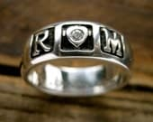 Romeo & Juliet Wedding Ring in Sterling Silver with Diamond and 'I love thee...' or Custom Text Engraving Size 9