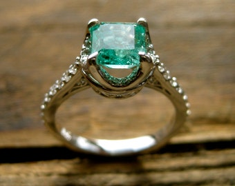 Colombian Emerald Engagement Ring in 14K White Gold with Diamonds and Scrolls on Basket Size 7