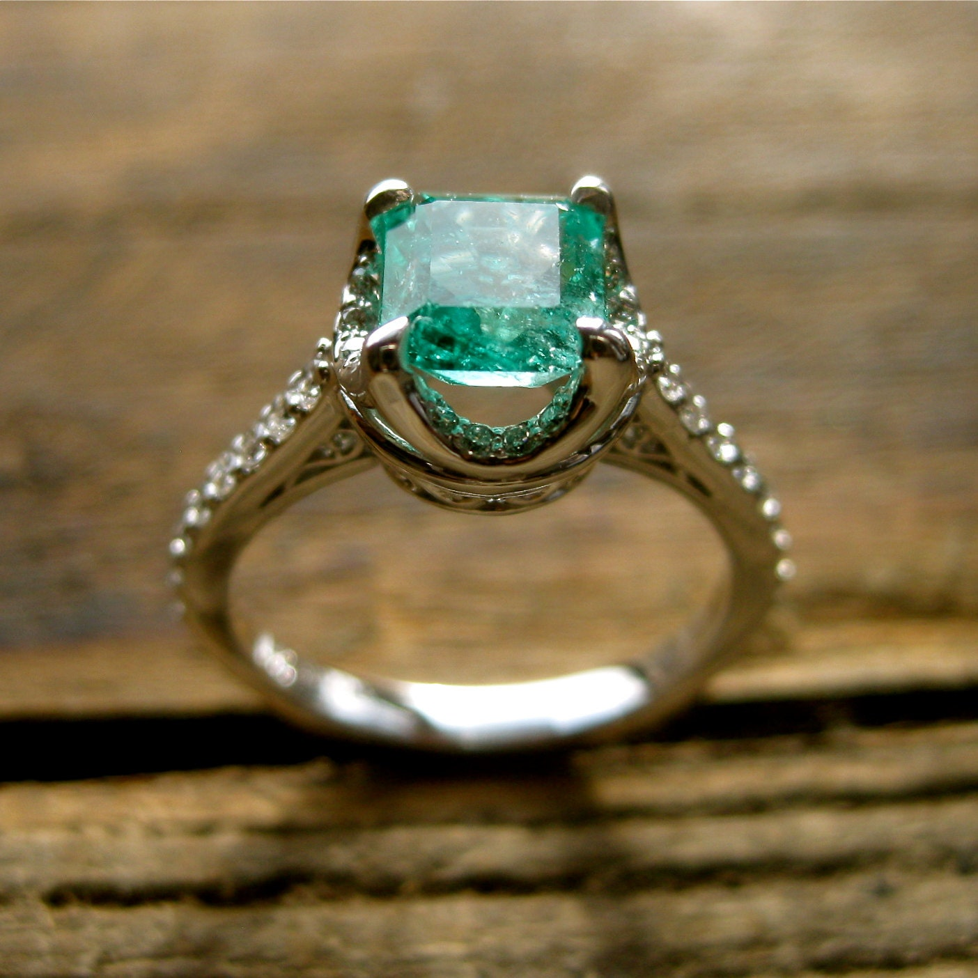 Colombian Emerald Engagement Ring in 14K White Gold with