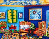 Original Art Oil Painting SALE Still Life van Gogh Bedroom Starry Starry Night Sky A Blessing for van Gogh by k Madison Moore