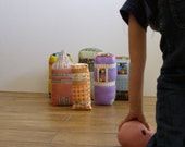 Bowling Set/City Life - fabric building bowling pins and ball - soft sculpture toy,children,whimsical,imagination play set,two toys in one