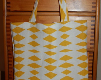 Cotton canvas shopper purse tote bag, white and yellow , Finnish quality material