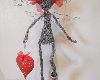 Quirky, unique, hand made Valentine fairy fairie.