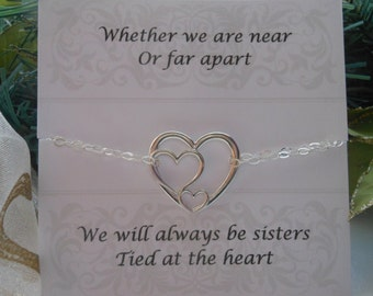 Good Wedding Gift Ideas For Sister : of Honor Sister Gift, Silver H eart Bracelet, Sister Jewelry,Wedding ...