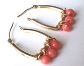 Coral and Gold Geometric Modern Earrings, Natural Coral Earrings