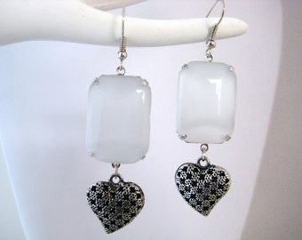 White Glass Moonstone And Puffy Heart Earrings, Sweetheart Romance Collection