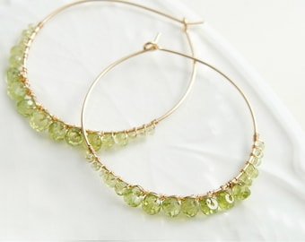 Peridot Hoop Earrings, Green Gemstone Earrings, August  Birthstone Jewelry, Large Gold Hoop