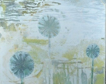 Square Painting Canvas UK Textured Flowers Seed Heads Alliums Green Yellow Blue White Blue Color Wash Semiabstract 30 cms x 30 cms Landscape