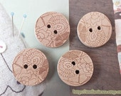 4PCS Japanese Wooden Buttons, Natural Color - Neat Sketched Cherry Blossom Blooming Floral (4PCS, D=2cm)