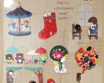 Offset Printing Iron On Transfer - Little Red Riding Girl Rainy Day Picnic Carousel Snow Ball Animals Bear Floral Deer Mole Balloon(1 Sheet)