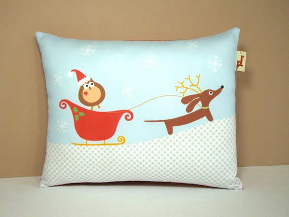 Dachshund Pillow - Reindeer Doxie and Holiday Owl - Dog Christmas Decor - Snow Winter Whimsical