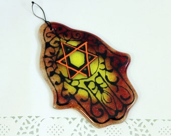 Jewish Judaica Home Blessing  Hamsa - Red and Yellow Star of David  kabbalah Art - Fused Glass by virtulyglass