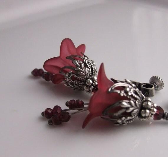 Garnet Earrings, Burgundy Wine Flower Earrings, January Birthday Birthstone, Bridesmaid jewelry