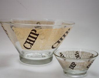 Vintage Chip and Dip Bowl Set / Bowls
