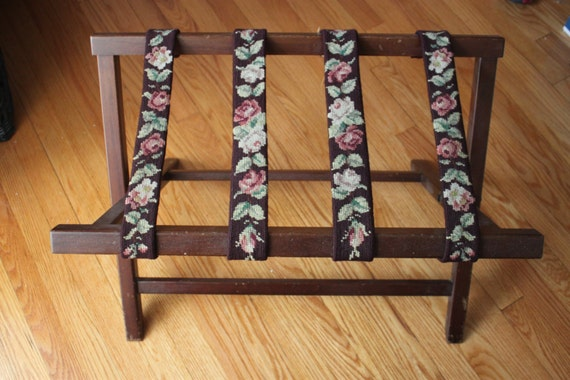 Vintage Wooden Luggage Rack With Needlepoint Straps Fold Out Stand