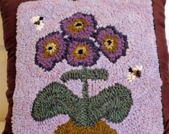 Purple Flower Rug Hooked Pillow
