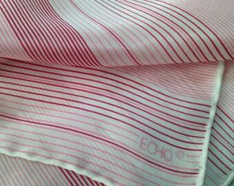 Vintage ECHO Scarf Silk Pink Stripe