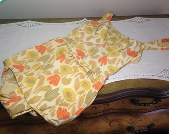 Vintage 50s Bathing Suit Rose Marie Reid Swimwear Orange, Yellow, Tan Floral