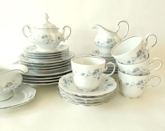 Set of Antique China . Johann Haviland . Blue Garland . Service for Four . Bavaria Germany .