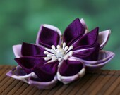 SALE!! Purple flower brooch, kanzashi, wedding, floral, pin, silk, cotton, Japanese, Asian, boutonniere, bridal, mother of the bride, UK