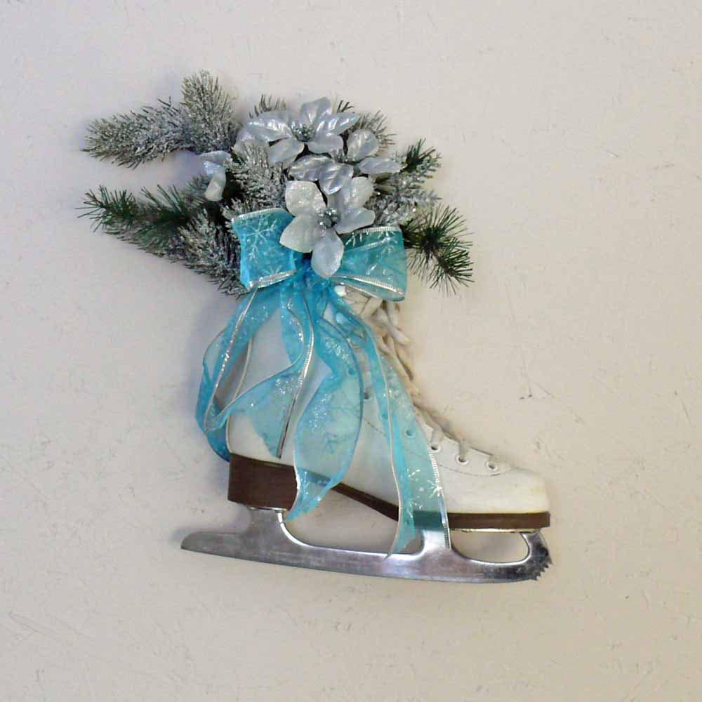 Light Blue and Silver Figure Skate Floral Centerpiece