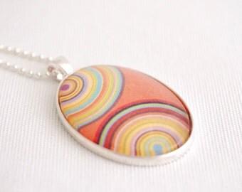 geometric necklace, rainbow striped pendant, melon, retro rainbow stripes necklace, zen circles