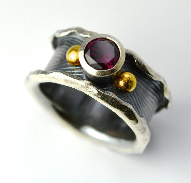 rhodolite garnet sterling silver 18k gold ring handmade wild. Black Bedroom Furniture Sets. Home Design Ideas