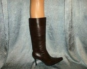 Vintage - Luter's - Stitched - Patchwork - Thick Leather - Chocolate Brown -  Fitted Calf - Tall  - Boots - marked size 39 or US 9