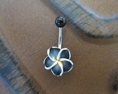 Belly Button Ring, Black Hawaiian Flower  Belly Button Jewelry, Hawaii Navel Stud Jewelry Belly ring Bar Barbell Piercing Tropical Hibiscus