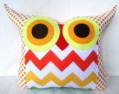 Black Friday sale/40% SALE  Room decor/gift /Gold/ yellow/ Chevron /zig zag  colorful Owl Pillow/Ready to ship/Large size