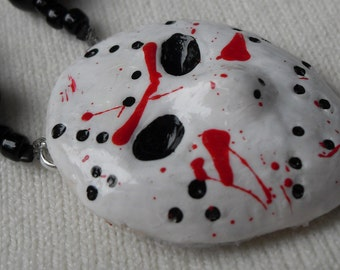 Rosary Jason Friday 13th Hockey Mask Middle Halloween Rosary Necklace Black Red and White Lightweight