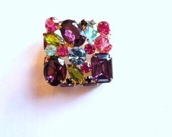 Brooch- Vintage jeweled square