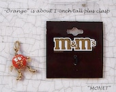 Wholesale M&M m and m Orange candy enamel charm with lobster clasp marked Monet save over half of retail NEW in Package NWT