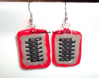 One of a KindEarrings, , Red and Grey Earrings, Polymer Clay Earrings, Upcycled Watch Band Earrings