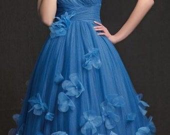 Blue One Shoulder Blue Short Tea Length Tulle Dress