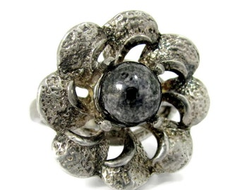 Vintage HEMATITE FLORAL STERLING Ring Artisan Silver Mid Century Modern Sz. 5