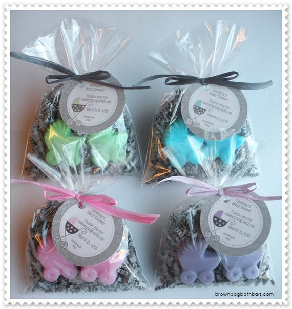 Stroller Favors Handmade Soap (20 complete favors with tags-40 soaps)