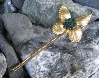 Golden Butterfly Bobby Pin with Green Swarovski Crystals