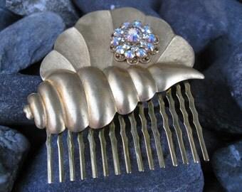 Golden Shell Swarovski Iridescent Crystal Hair Comb