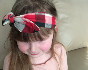 SALE Knot Headband - Tie Knot Headband - Jersey Knit - Baby Headband - Toddler Head Wrap - Buffalo Plaid in Red