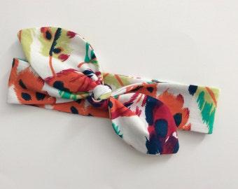 SALE Knot Headband - Tie Knot Headband - Jersey Knit - Baby Headband - Toddler Head Wrap - Multi Coloured Trendy Feathers on White