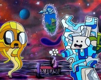 Adventure Time - Finn and Jake  - Surreal Abstract  Cartoon Pop Art Print