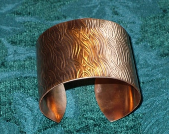 Wide Patterned Copper Cuff