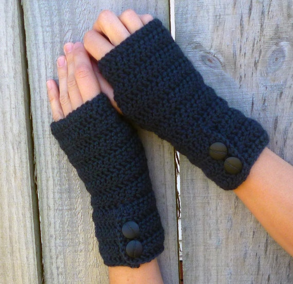 Hobo Gloves Knitting Pattern : Fingerless gloves GREY knit arm warmers crochet by captainapricot