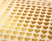 108 Gold Heart Stickers - FREE SHIPPING with other purchase