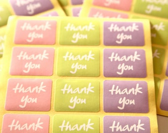 24 Thank You Stickers - Rectangle - FREE SHIPPING with other purchase