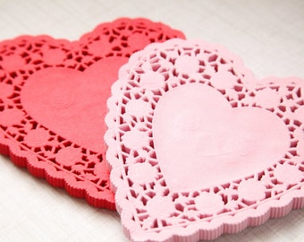 "100 - 6"" PINK HEART Paper Lace Doilies"