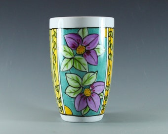 Handmade Pottery Mug, Hand Painted Latte Mug, turquoise and lavender, china painted. SKU1412-3